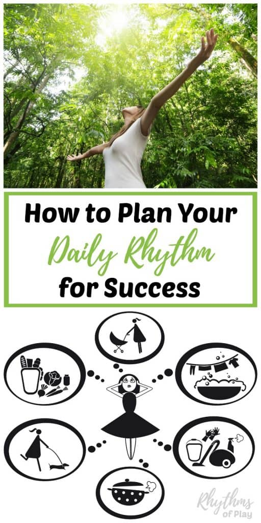 Creating a daily rhythm routine will help you get organized by providing a framework for your day. Establishing daily, weekly, and household rhythms is an easy way to increase productivity and get things done. Click through to learn how to successfully plan your day to have the free time to do the things you love!