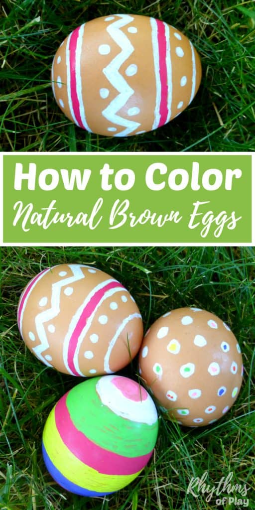 Easy Easter egg decorating idea. Yes, you CAN color natural brown eggs for Easter! They look beautiful in Easter Baskets and are easy for the kids to spot on Easter egg hunts. All you need is this simple trick and the desire to get creative with the kids. It's so easy even a toddler can do it! Easter Ideas | Decorate Eggs | Easter Eggs