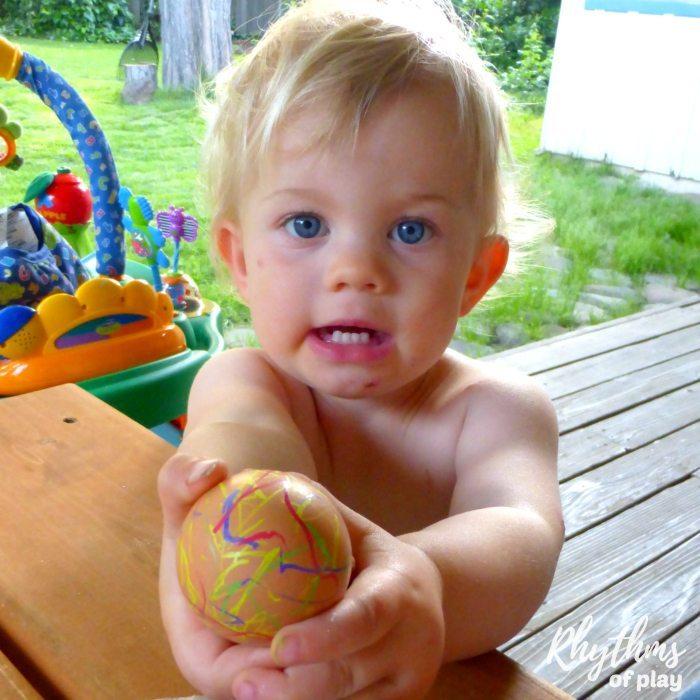 toddler decorating natural brown egg