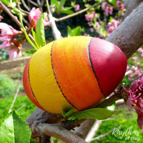 Red orange and yello DIY wooden Easter egg