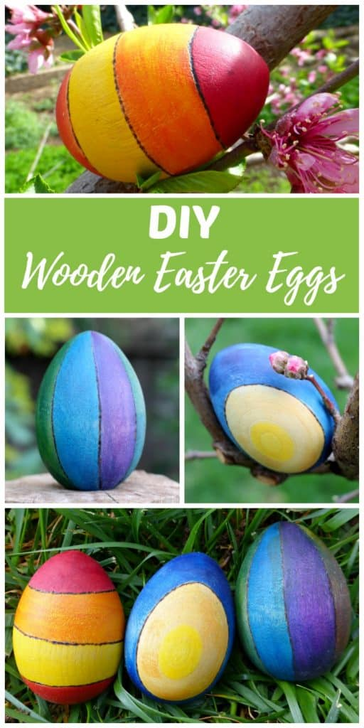 DIY wooden Easter egg craft ideas are a fun alternative to traditional Egg decorating and plastic candy filled eggs. Create Easter keepsakes that you can re-use again year after year. Kids love to hunt them down on Easter egg hunts as much as they like to find them in their Easter Baskets as a non-candy alternative. Wooden Easter eggs like these also make gorgeous spring home decor.