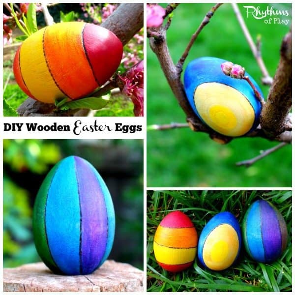DIY wooden Easter Eggs are a fun and easy art project for older kids, teens, and adults. They are great for spring home decor, spring nature tables, and are a perfect alternative to candy for Easter baskets and Easter egg hunts! Easter Eggs | Easter Craft | DIY Easter | Woodburning Craft | Easter Ideas | Watercolor Eggs