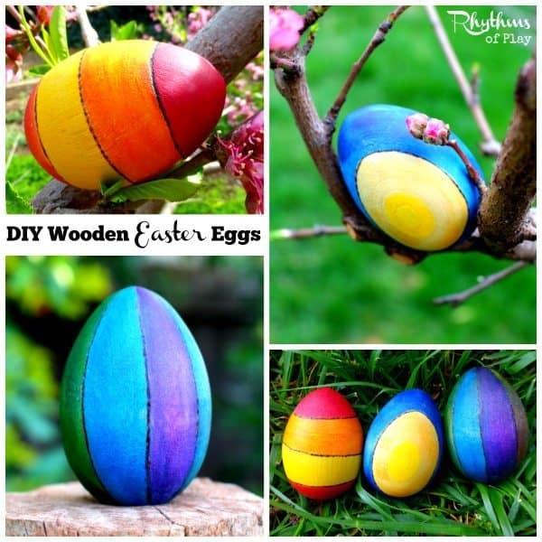 Photos of DIY wooden Easter Eggs