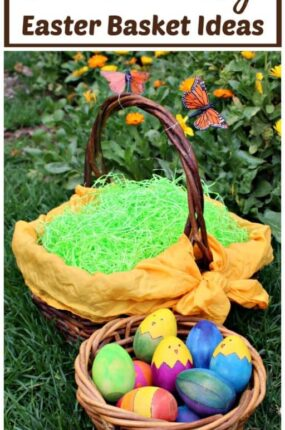 Eco-friendly Easter basket ideas make it easy to create quality Easter baskets that your kids will love!Use these simple natural green living tips to reduce your carbon footprint and make your kids happy. Includes links to tutorials to make upcycled Easter baskets from recycled materials and non-candy Easter gift ideas.