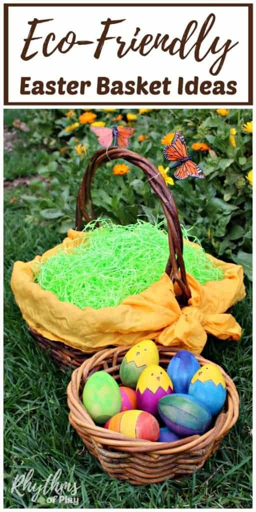 Eco-friendly Easter basket ideas make it easy to create quality Easter baskets that your kids will love! Use these simple natural green living tips to reduce your carbon footprint and make your kids happy. Includes links to tutorials to make upcycled Easter baskets from recycled materials and non-candy Easter gift ideas.