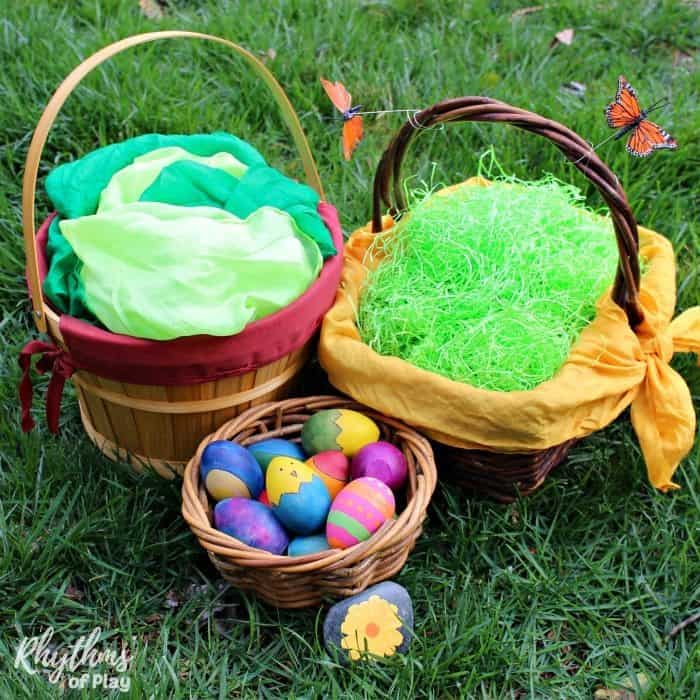 Eco friendly easter basket tips and ideas rhythms of play natural eco friendly easter baskets negle Images
