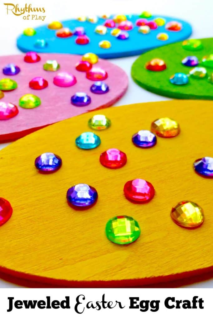 This Jeweled Easter egg craft for kids is an art, craft, and fine motor activity all rolled into one fun activity. Once finished these Easter decorations can be hung individually, made into a garland, or used as spring home decor!