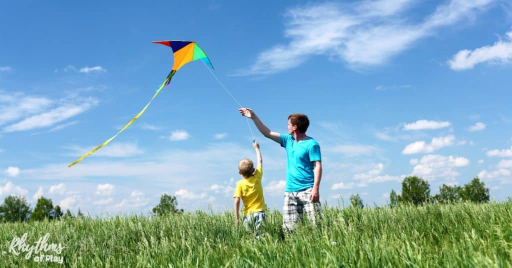 Easy tips to learn how to make and safely fly a kite with kids. Kite flying with kids is a fun outdoor activity with many benefits and opportunities to learn. It's the perfect activity for homeschoolers and families to get outside, connect, and learn about wind science through play. Choosing to make your own kite turns kite flying with kids into a STEAM activity. Kids can learn a lot from designing, building, and decorating their own kites.