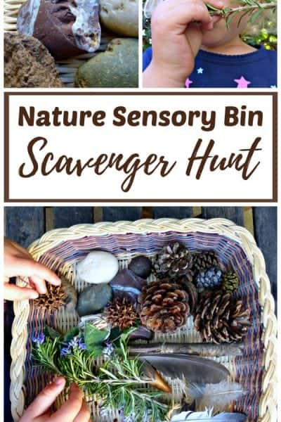 Nature Sensory Bin Scavenger Hunt for Kids