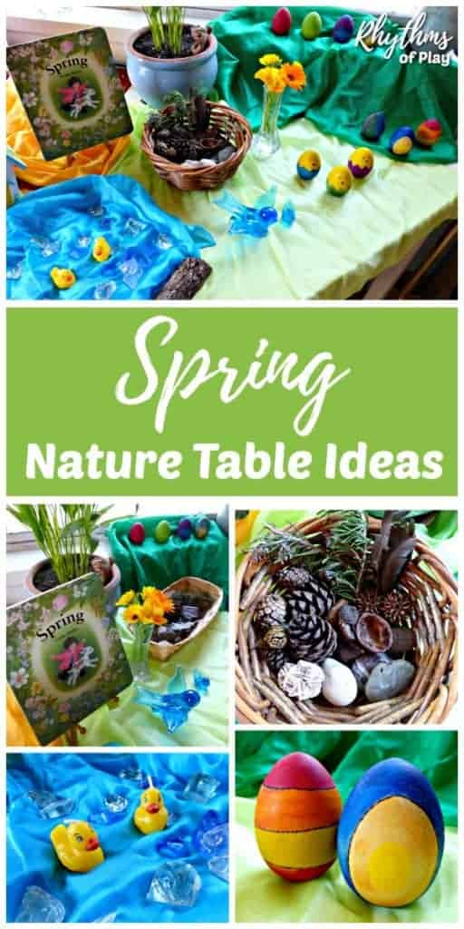 Spring nature table ideas for natural learning - Waldorf and Montessori education