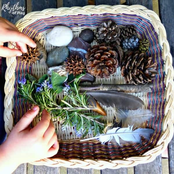 Making a nature sensory bin is a fun thing to do in the summertime