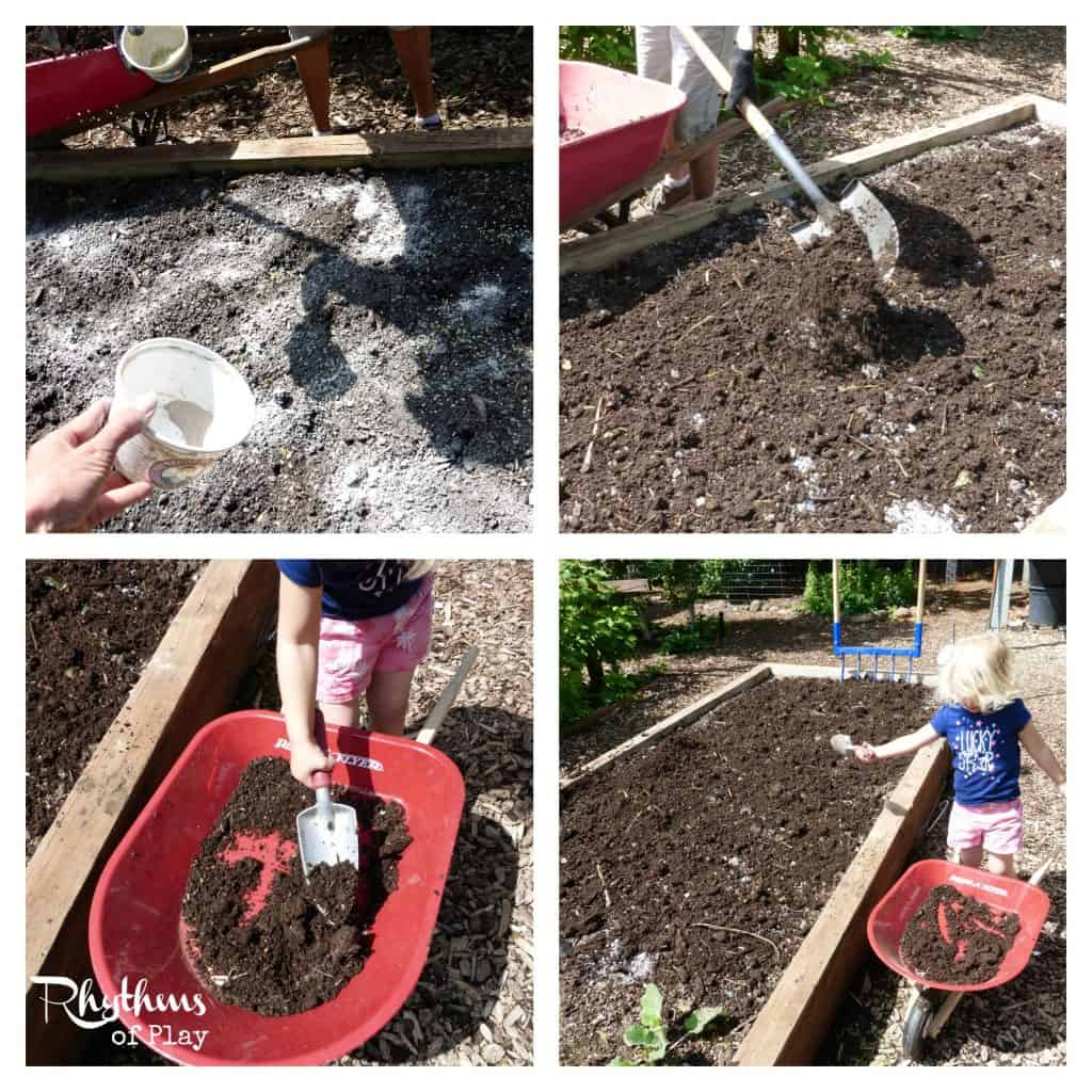 Organic gardening with kids - add soil amendments