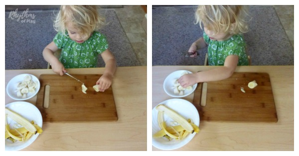 how to cut a banana the Montessori way, cut then place to the right