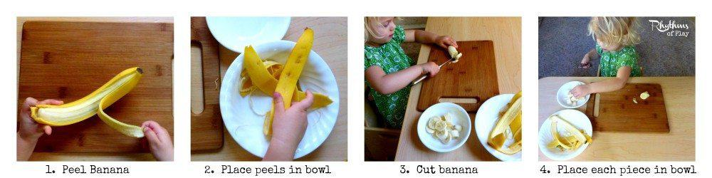 Peel and cut a banana.