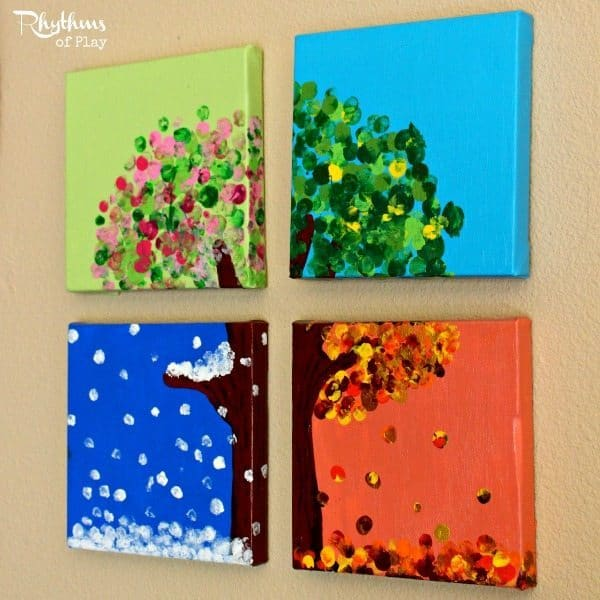 seasons craft ideas diy four season handprint and fingerprint tree rhythms 2899