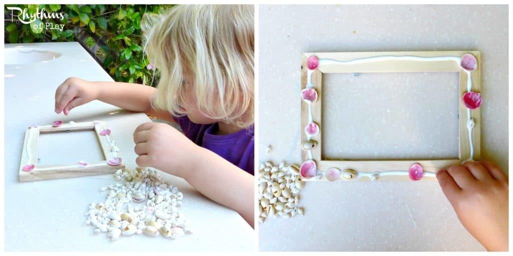 DIY shell frames with handprint: a keepsake gift