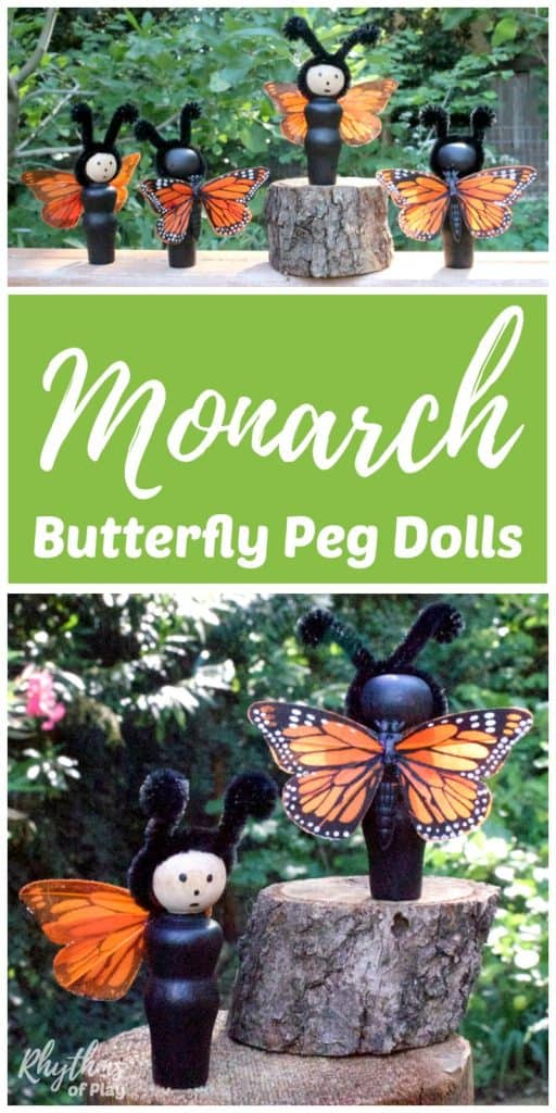 DIY Monarch Butterfly Peg Dolls Toy for Kids
