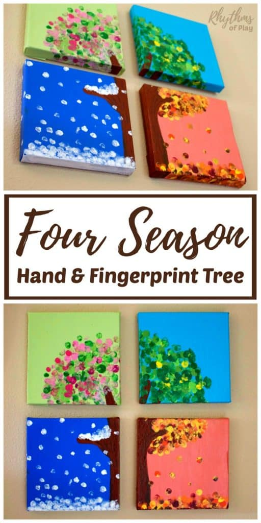 four season handprint art and fingerprint tree art