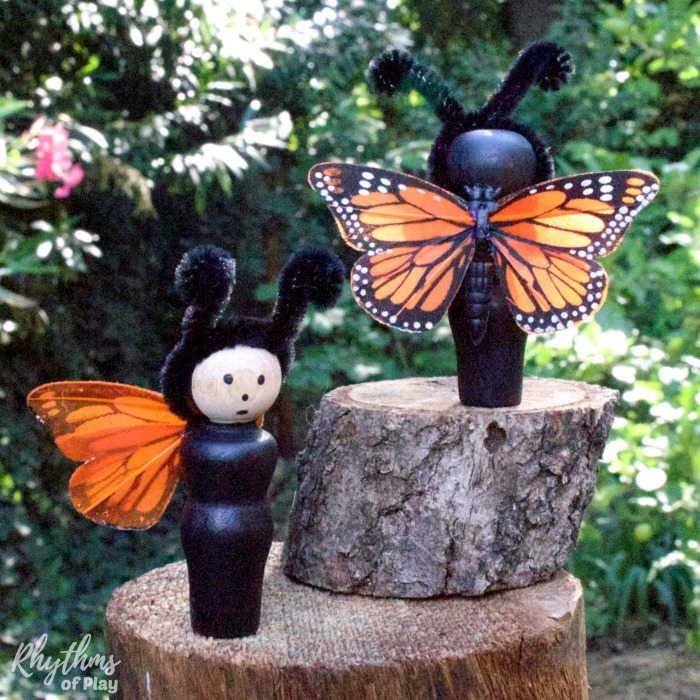 DIY monarch butterfly peg dolls are super easy to make. A simple wooden toy doll for pretend or imaginative play. They also add a lovely summer element to your home decor and are perfect for displaying on nature tables.