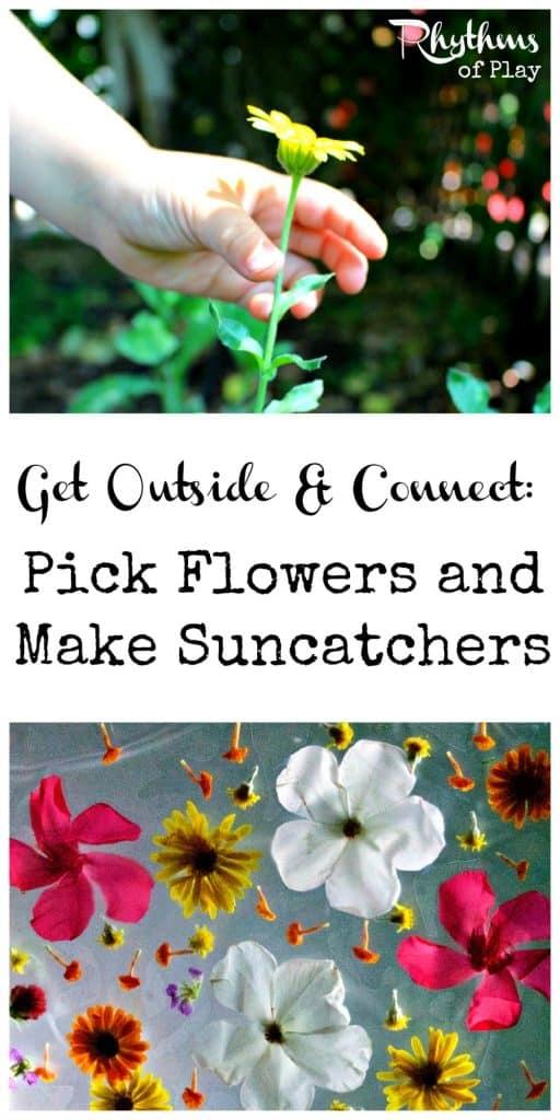 Pick flowers and make suncatchers