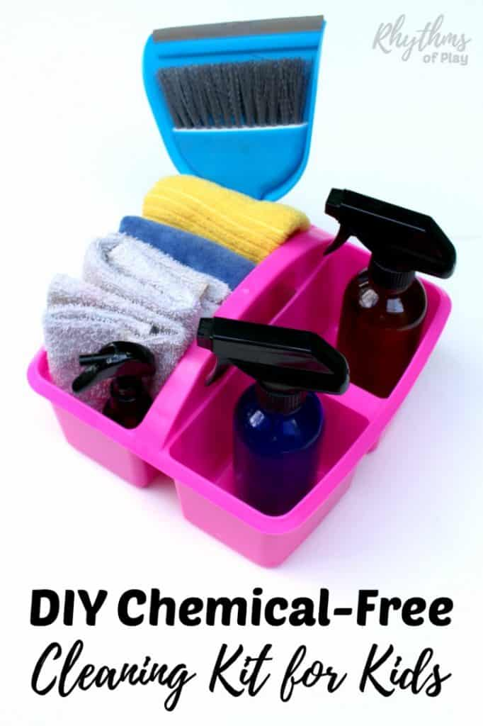 Young children love to feel useful and want to help do chores around the house. This chemical-free cleaning kit is a great resource to provide for your kids to become the little helpers that they want to be. Give your child a cleaning kit today! Kids Chores | DIY Cleaning Kit