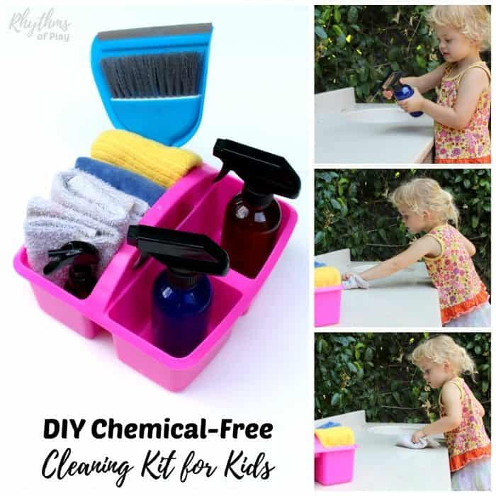 kid using all-natural cleaning kit to clean and help with chores