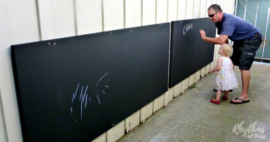 DIY Outdoor chalkboard for kids