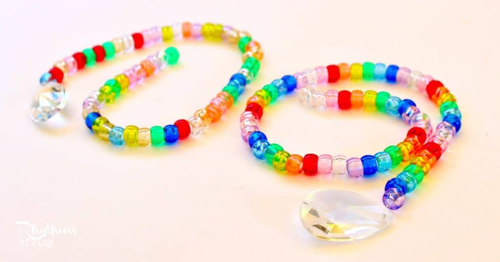 Pony bead and prism suncatchers a fine motor craft for for Bead craft ideas for kids