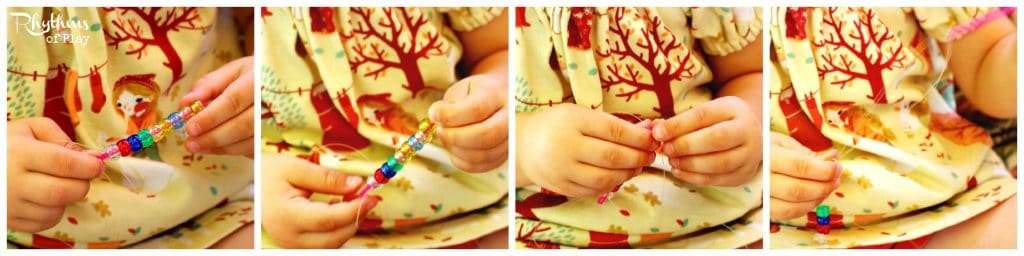 If you child has never strung beads - demonstrate it for them first.