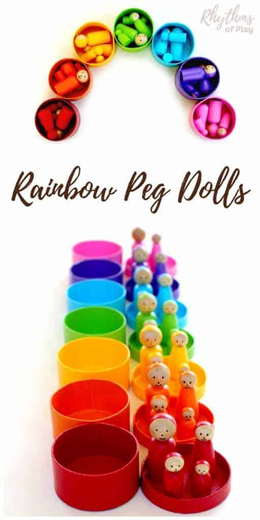 Rainbow peg dolls are and craft for older kids, teens, and adults to make. Wooden Dolls like this are commonly used for pretend or imaginative play and color matching games in Montessori and Waldorf education. Click through to learn how easy it is to make this unique handmade DIY toy! A perfect homemade gift idea for Christmas and birthdays.