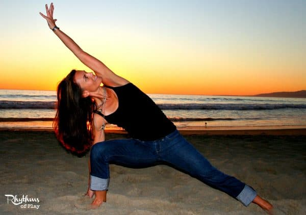 Yoga at sunset on the summer solstice in Venice Beach
