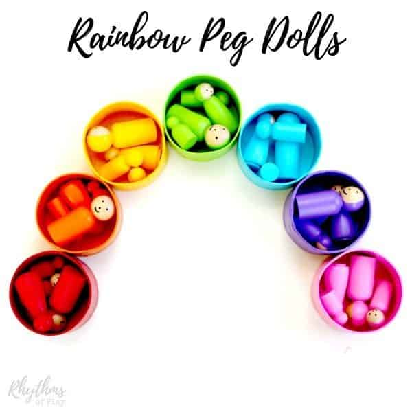 DIY rainbow peg dolls for pretend play and color matching games.