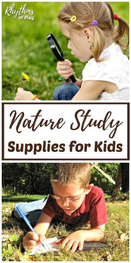 children looking through a magnifying glass studying nature with nature study supplies