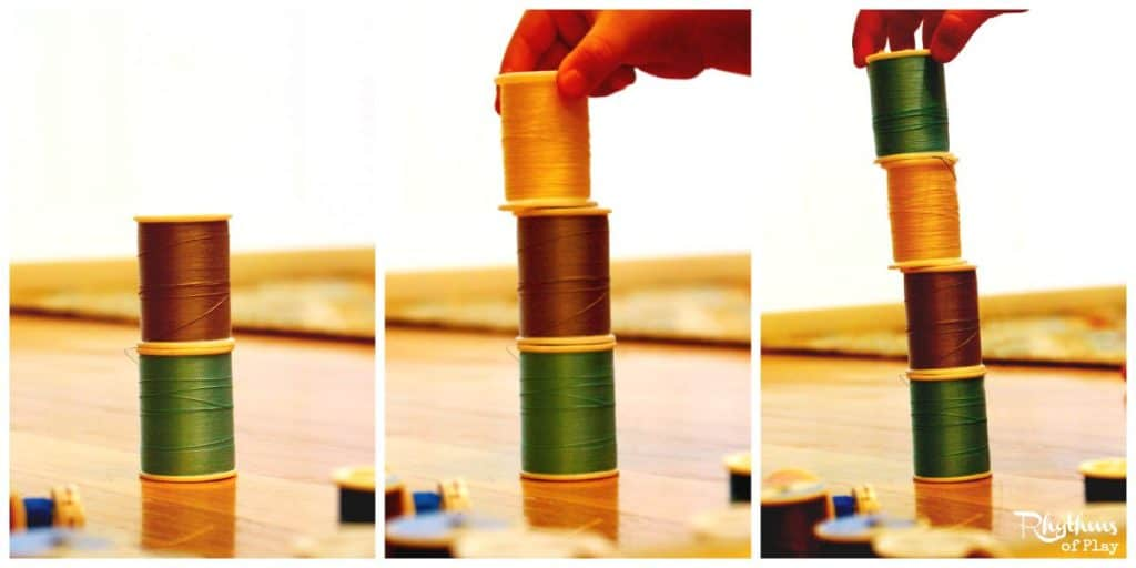 Sewing spool stacking activity for kids