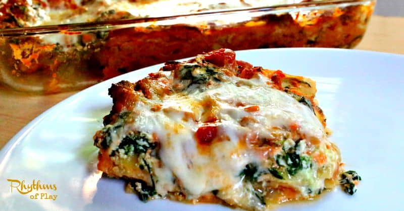 Turkey vegetable lasagna cooking with kids