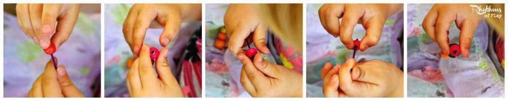 Jewelry craft for kids: wooden bead bracelets