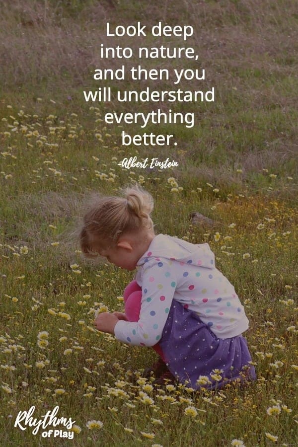 "Child in nature studying a flower with quote overlay. ""Look deep into nature and then you will understand everything better."""