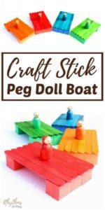 DIY Craft Stick Peg Doll Boat for Kids