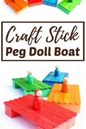 colorful popsicle stick boat craft with peg doll