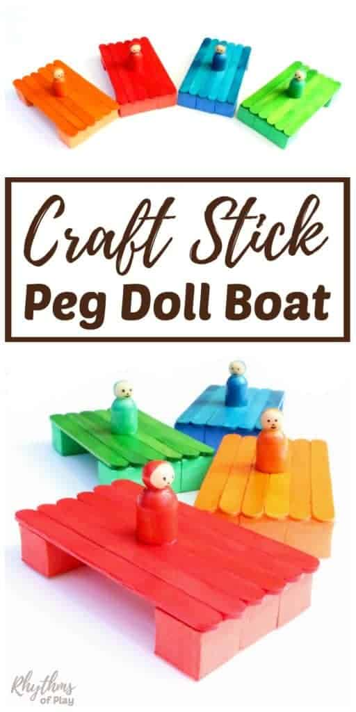 Popsicle stick boat craft for kids