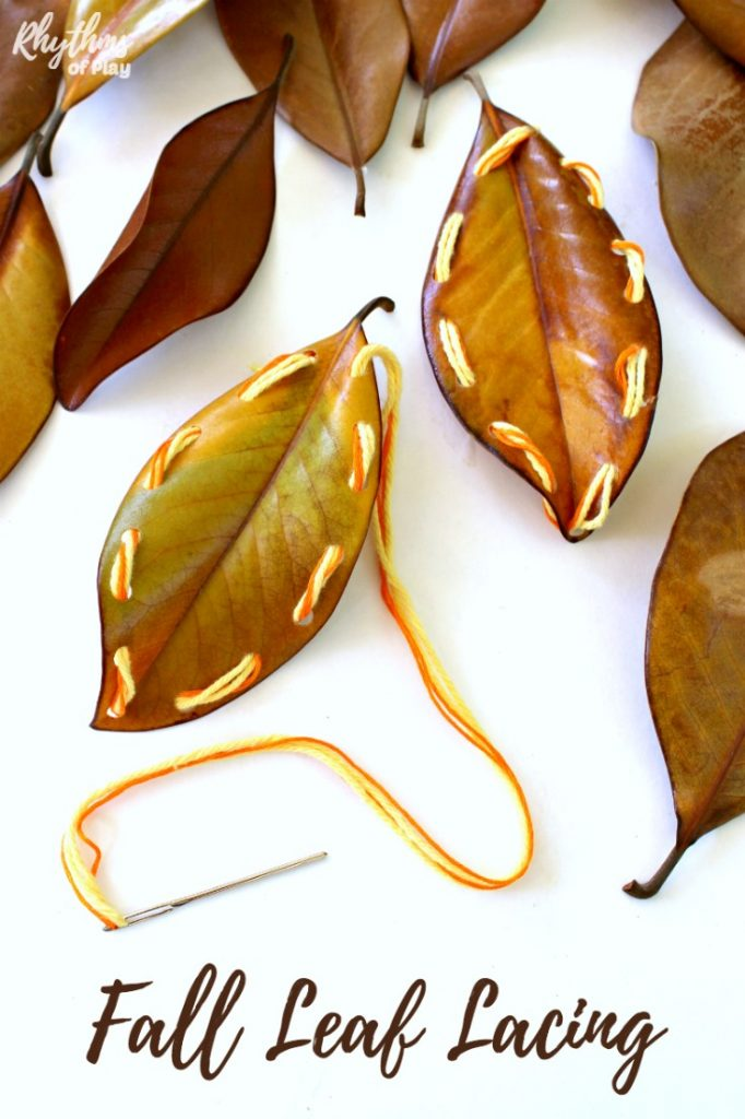 fall leaf lacing beginning sewing lesson for kids using sturdy autumn leaves