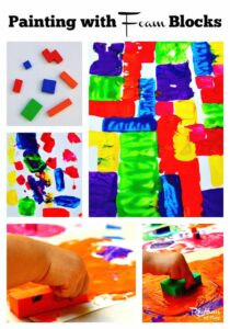 Painting with foam blocks