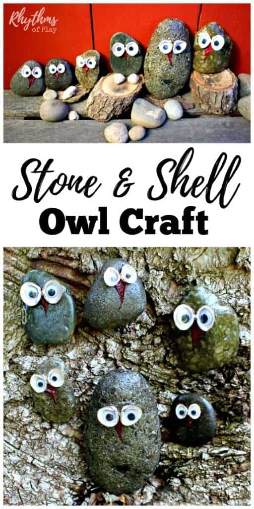 Here's a simple nature craft using natural materials for both kids and adults. Once finished, these cute little stone and shell owls look great sitting in potted plants and gardens, and displayed on mantles and windowsills. They also make a lovely addition to nature tables and can be used for pretend or imaginative play.
