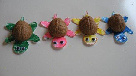 Walnut shell turtle nature craft by No Time for Flashcards.