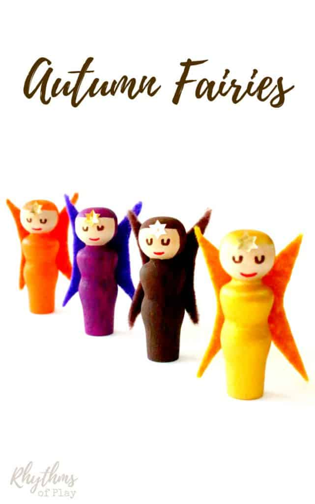DIY Fall Peg Doll Fairies - These cute little handmade autumn fairies are really easy to make. They make cute fall home decor and are a wonderful addition to nature tables, and fairy gardens. They are fun to use as decorations around the home and are perfect for kids to use for pretend or imaginative play. Click through for the tutorial!