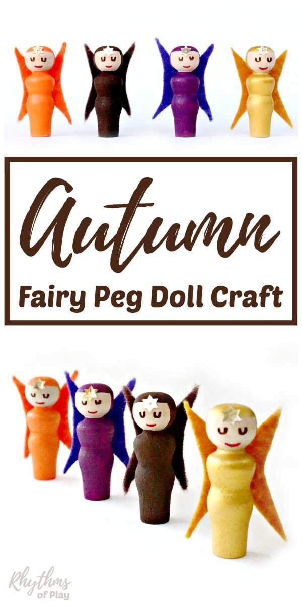 Fall fairy craft made with wooden peg dolls
