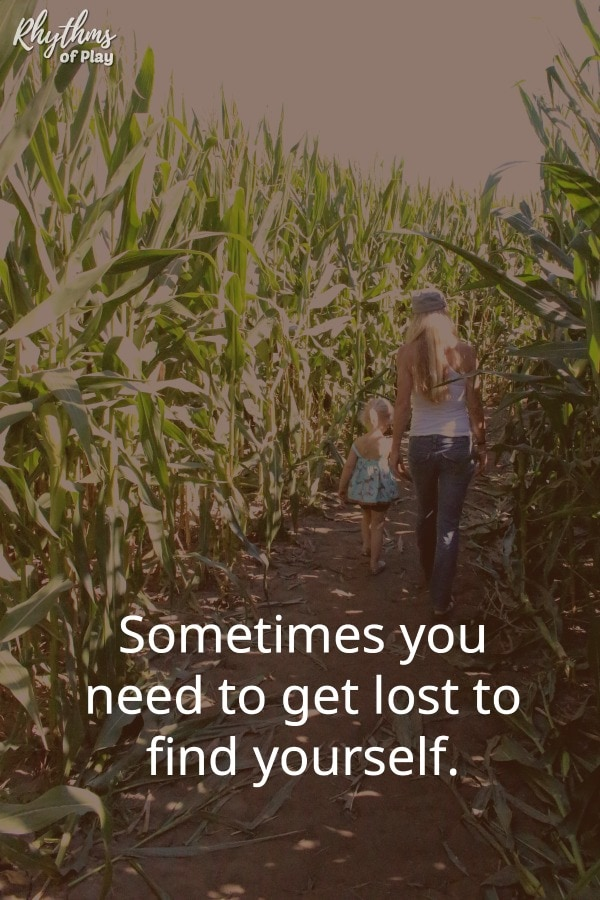 "Corn maze - ""Sometimes you need to get lost to find yourself."" quote meme pin"