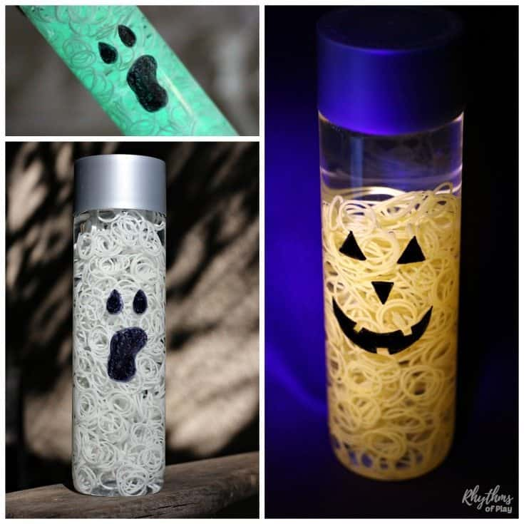 Ghost and Pumpkin Halloween Sensory Bottle Lantern Luminaries