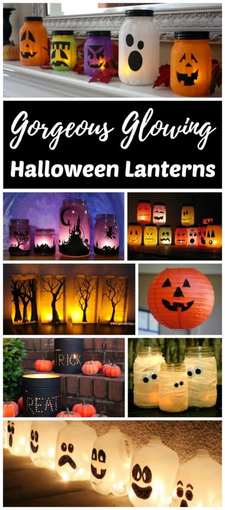 Glowing DIY Halloween lanterns are easy to make. Glowing luminaries are a fun way to decorate your doorstep and windowsills for parties and Halloween night. Most of them are upcycled mason jar, tin can and milk jug crafts for both kids and adults. Try your hand at one of these unique ideas or find inspiration to create your own!