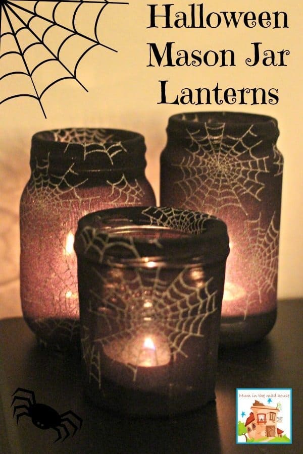 Halloween Lantern Craft Idea made with Mason Jars and spider stockings muminthemadhouse.com